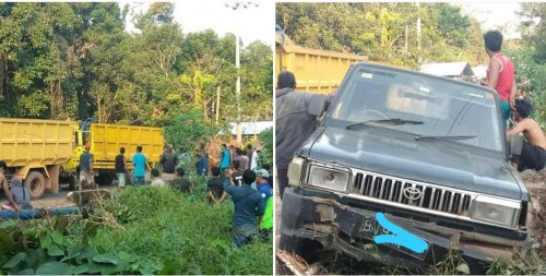 Tabrakan Beruntun di Desa Bantan, Kecamatan Membalong, Kabupaten Belitung. Jum'at (16/8/2019), sore. (Foto: istimewa)